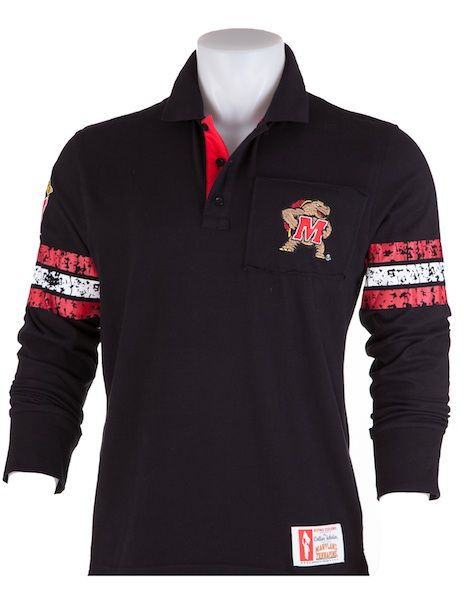 Maryland Terrapins Mens Rugby Collar Scholar Polo Terps Mens Casual Outfits Mens Outfits College Sports Apparel