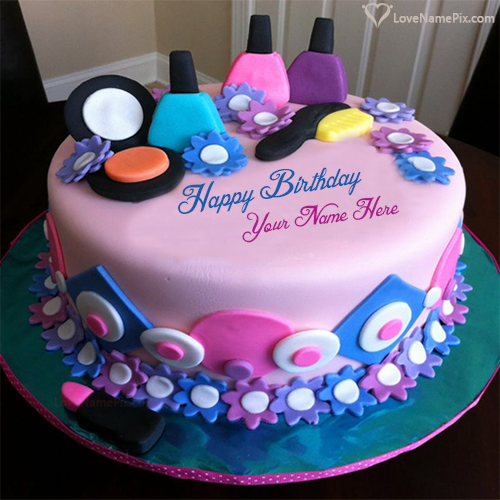 Girly Decorated Beautiful Birthday Cake With Name Photo Happy Wishes