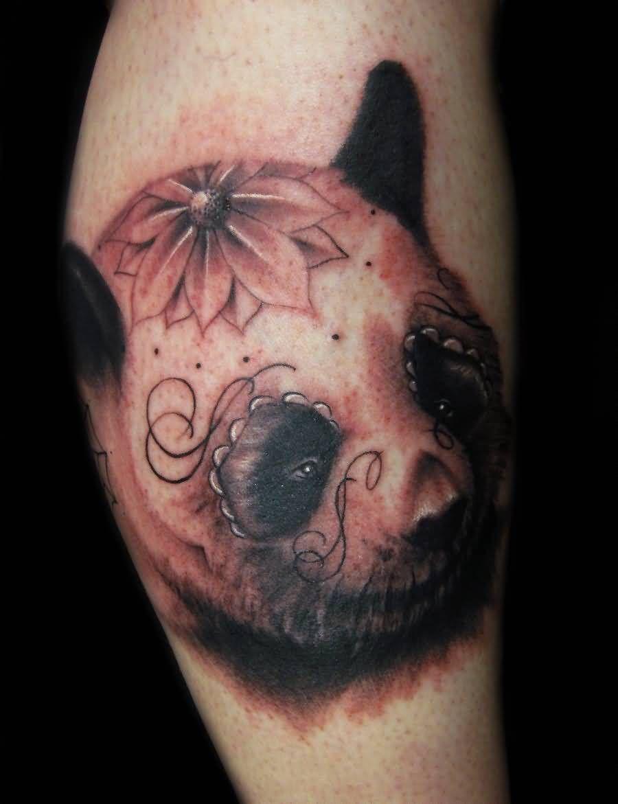 Terrific Panda Face With Flower Shape On Head Tattoo ... - photo#12