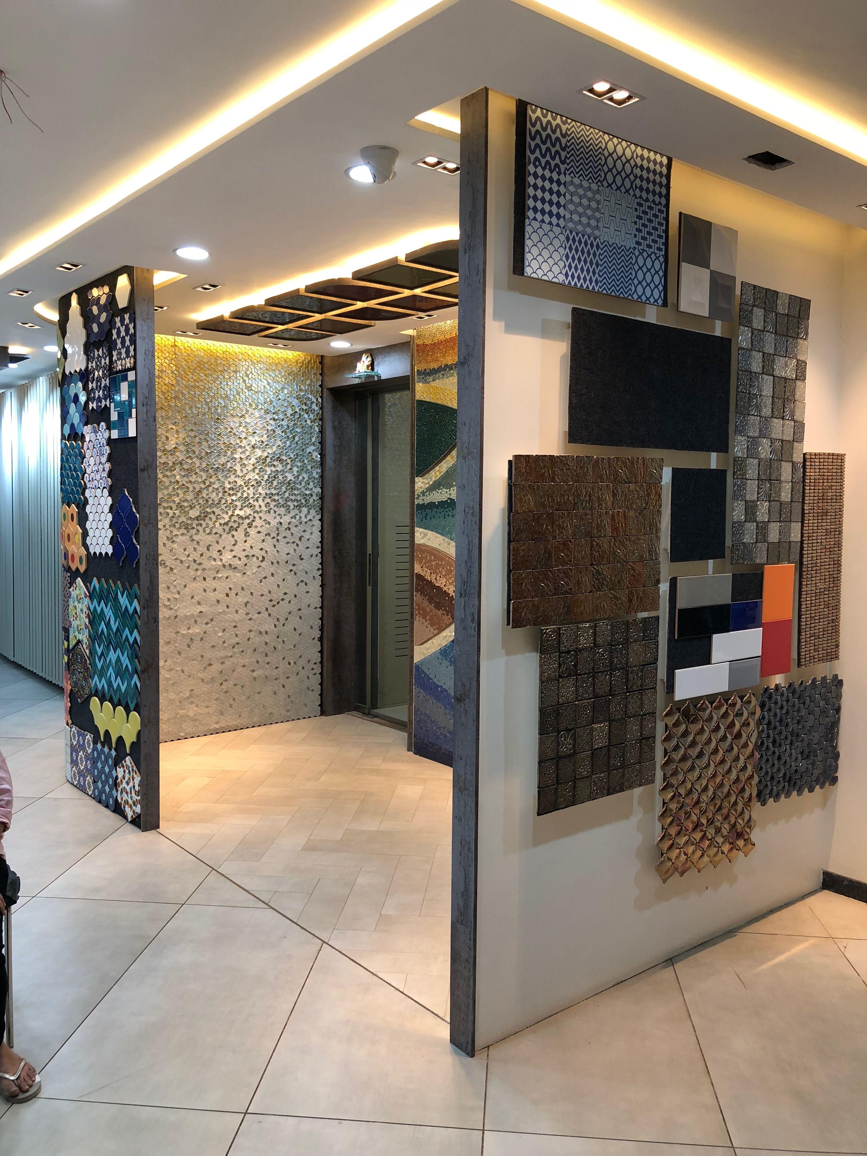 Living Room Interior Design Pdf: Mosaics#display#showroom#curvedwall#entrance#ambience