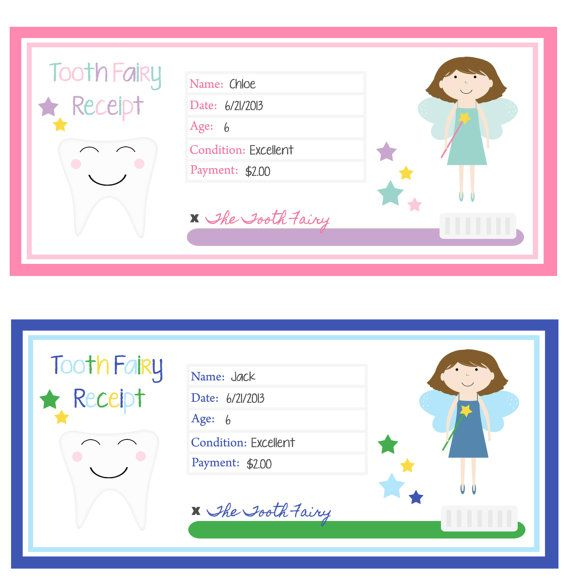 Super Cute Tooth Fairy Receipt ) wish I could have know about - free printable receipt book