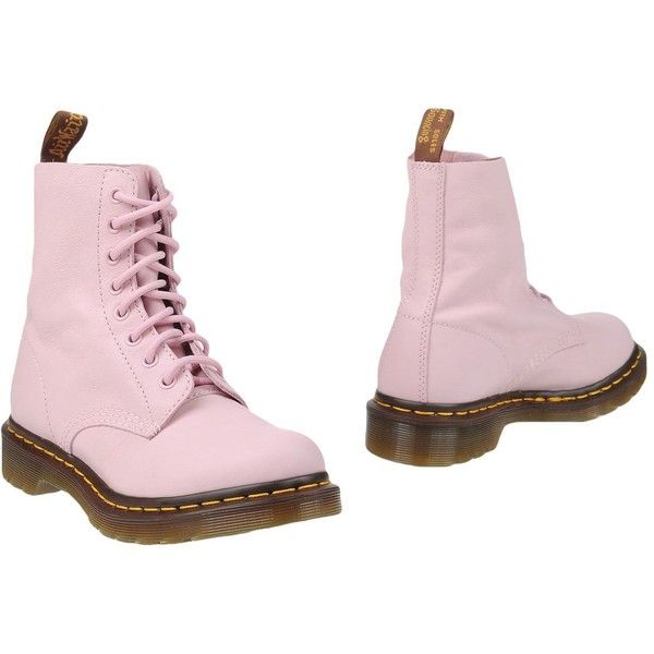 Dr. Martens Ankle Boots ($211) ❤ liked on Polyvore featuring shoes, boots, ankle booties, pink, bootie boots, pink booties, real leather boots, ankle boots and leather ankle bootie