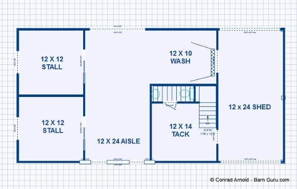 Barn plans 2 stall horse barn with living quarters for Horse barn layouts floor plans