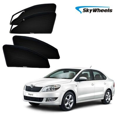 Skywheels Uv Magnetic Car Sun Shade For Skoda-Rapid With   Zipper Set Of 4