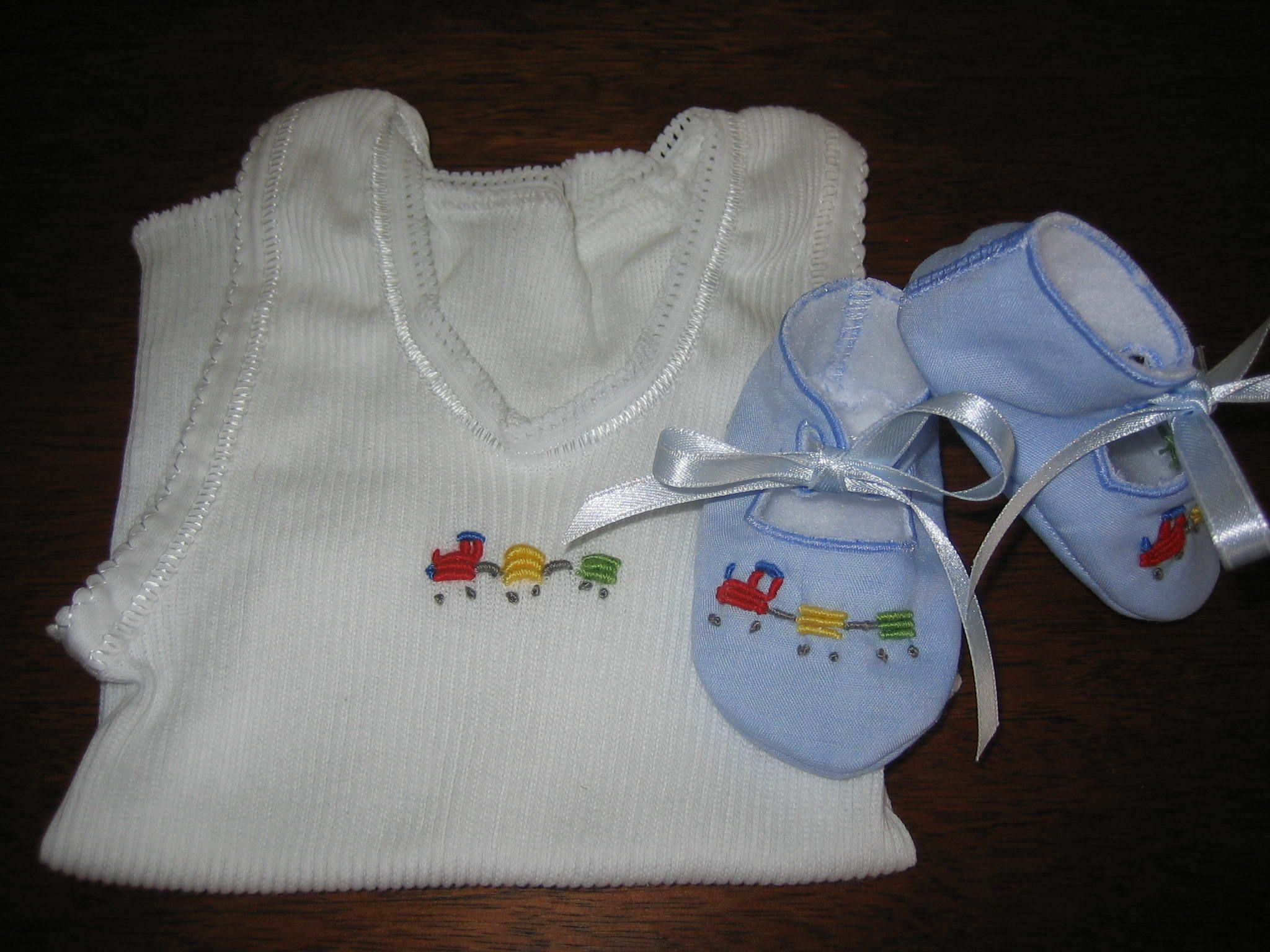 Matching booties and singlet set with hand embroidered bullion matching booties and singlet set with hand embroidered bullion train and wagons negle Images