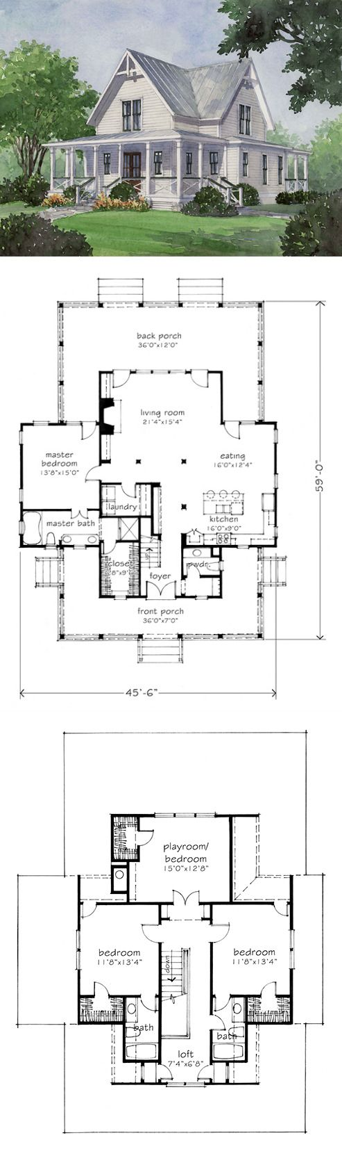 Love This Plan Kids Rooms Upstairs Love The Openness Downstairs Finished Basement Would Be Awesome Farmhouse Floor Plans House Plans Farmhouse Cottage Plan