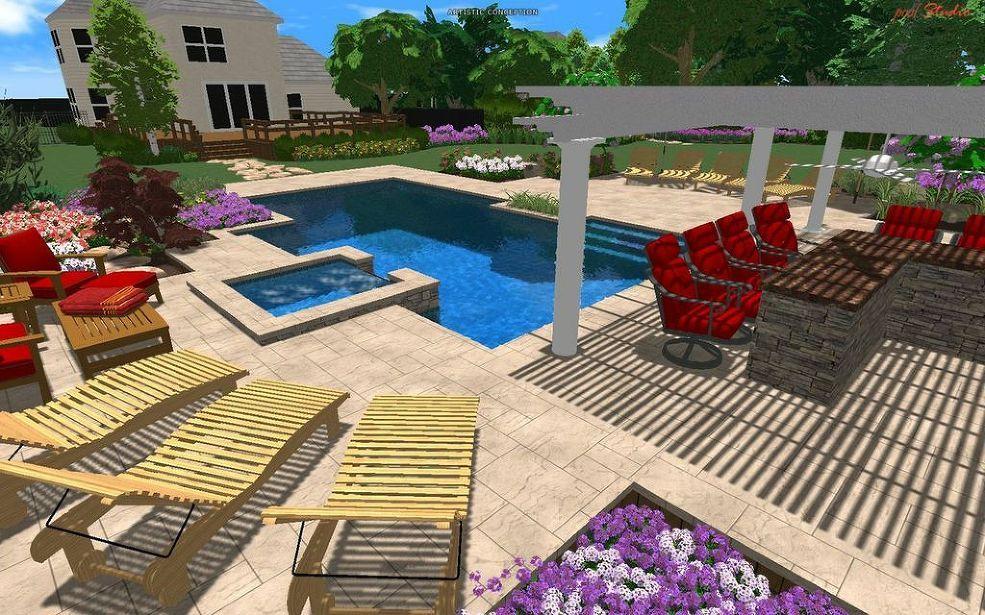 award-winning design: geometric pool with raised spa | spa, hot ... - Award Winning Patio Designs