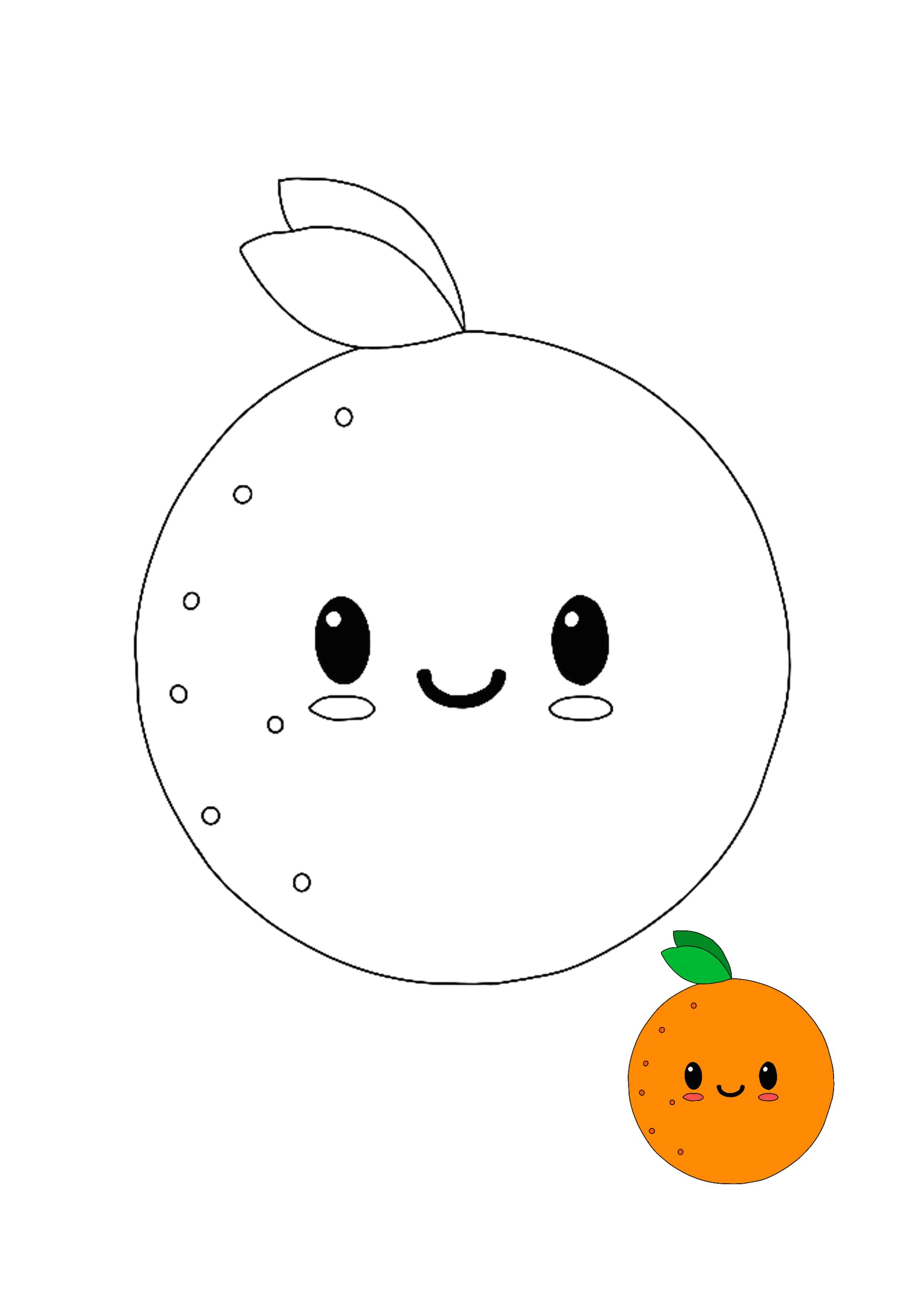 Kawaii Orange Coloring Picture With Sample Coloring Pages Coloring Pages For Kids Coloring Pictures