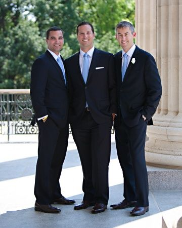 5173a9e60389 Navy suits, light blue ties and crisp white pocket squares | Groom ...