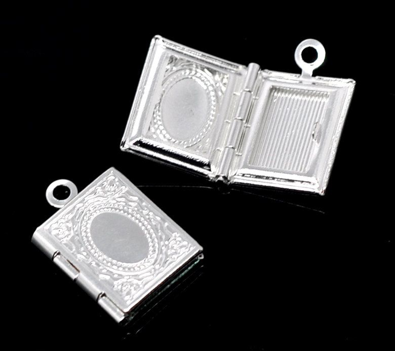 4 SMALL Silver Plated Book Shape Picture Photo Frame Locket 17x12mm. chs0715 by SmartParts on Etsy