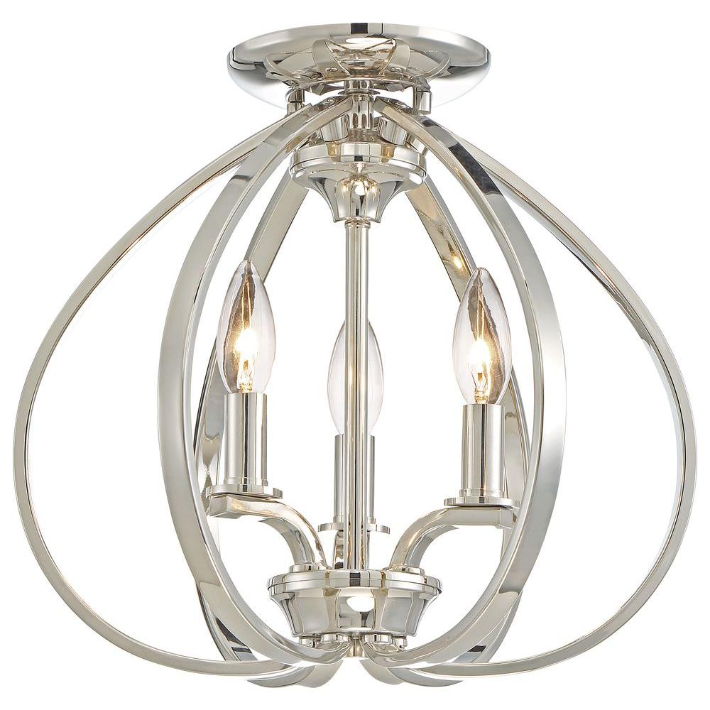 Minka lavery tilbury light polished nickel semi flush mount