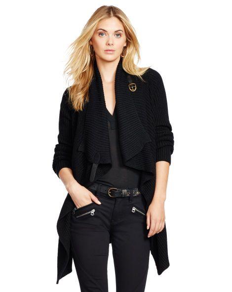 b6f7012b01 Leather-Trim Wrap Cardigan - Polo Ralph Lauren Cardigans & Sweater ...