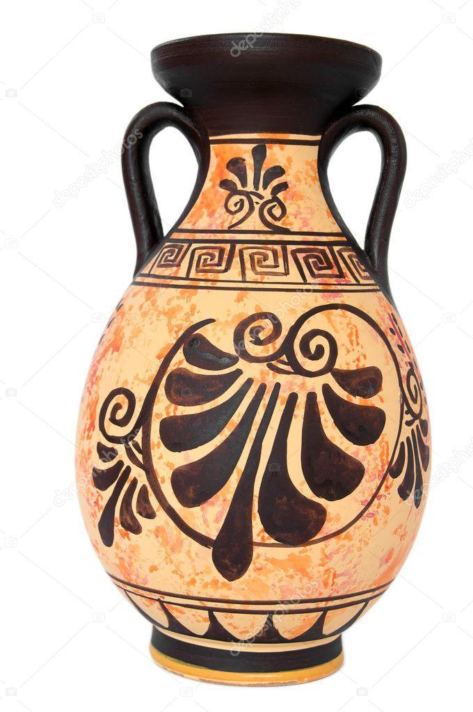 Florero Naranja Griego Antiguo Aislado En Blanco Pintura De Jarrones Jarrones Pintados Jarrones Decorativos