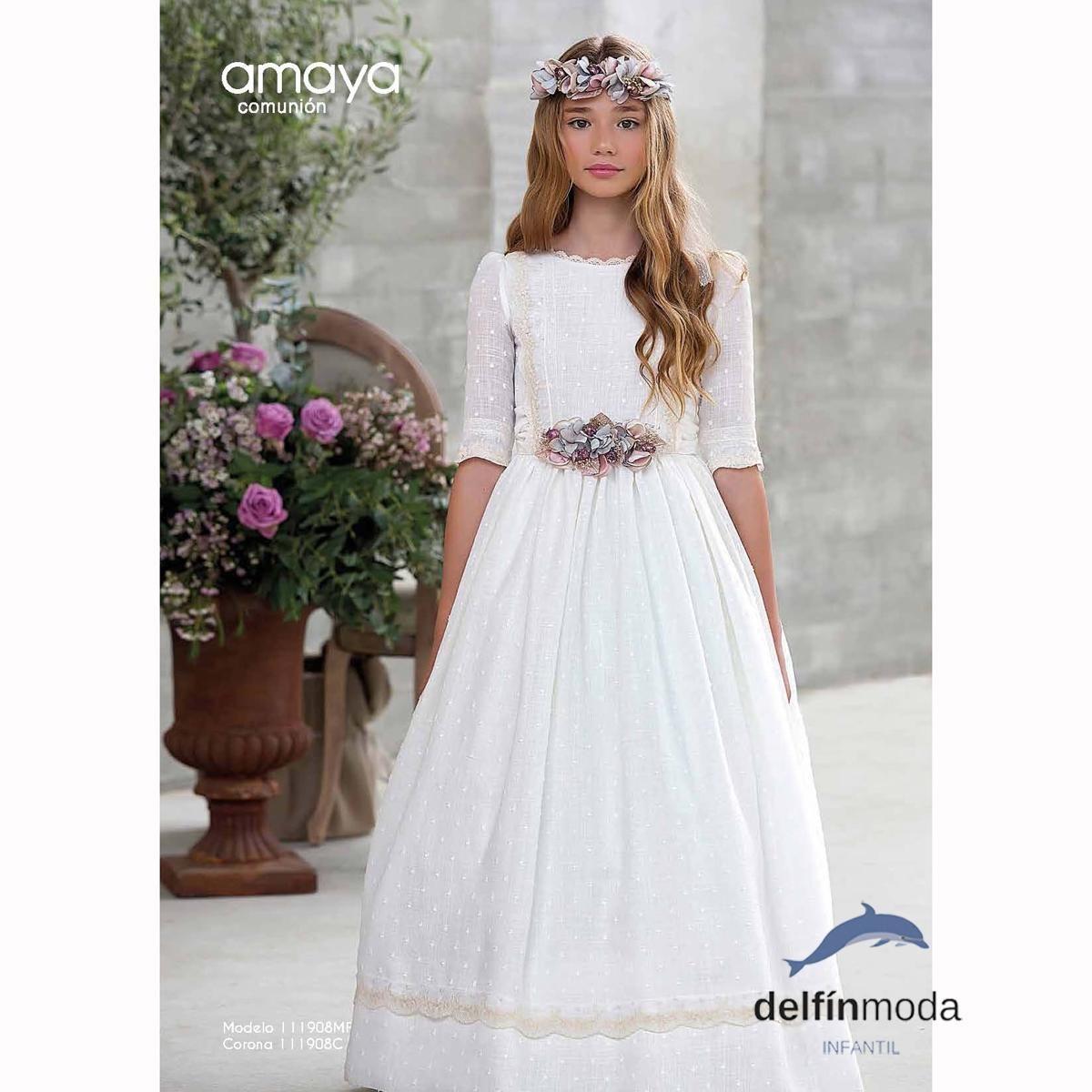 disfruta del mejor precio descuento hasta 60% productos de calidad Vestido de Comunión AMAYA 2018 modelo 111908 | Niñas ...