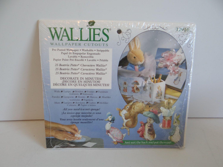 Beatrix Potter Character Wallies Wallpaper Cutouts - Set of 25 Prepasted Vinyl Coated Wallpaper Cutouts - Peter Rabbit by SecondWindShop on Etsy