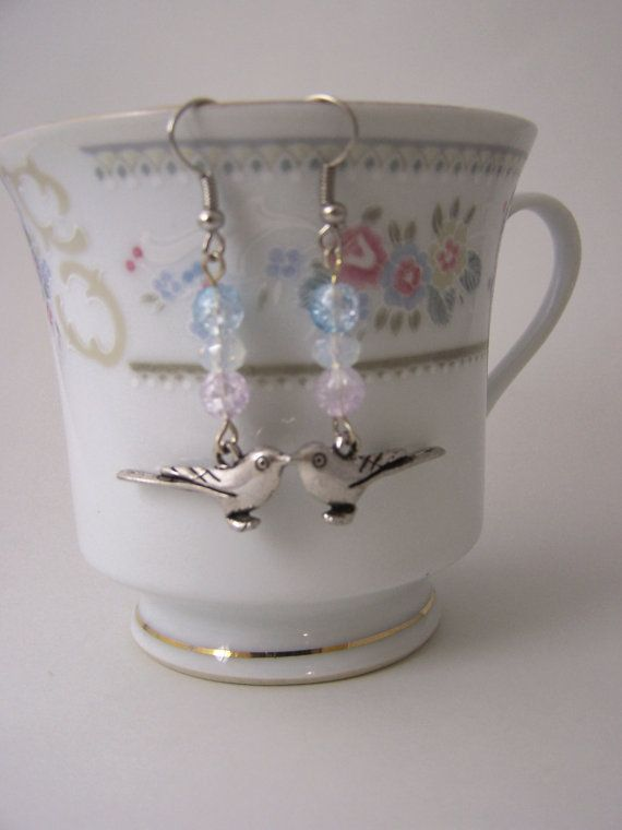 Silver Bird earrings, baby blue glass, pale lilac, opal, opalite, pastel, shabby chic jewelry €8 by Valkyrie´s Song