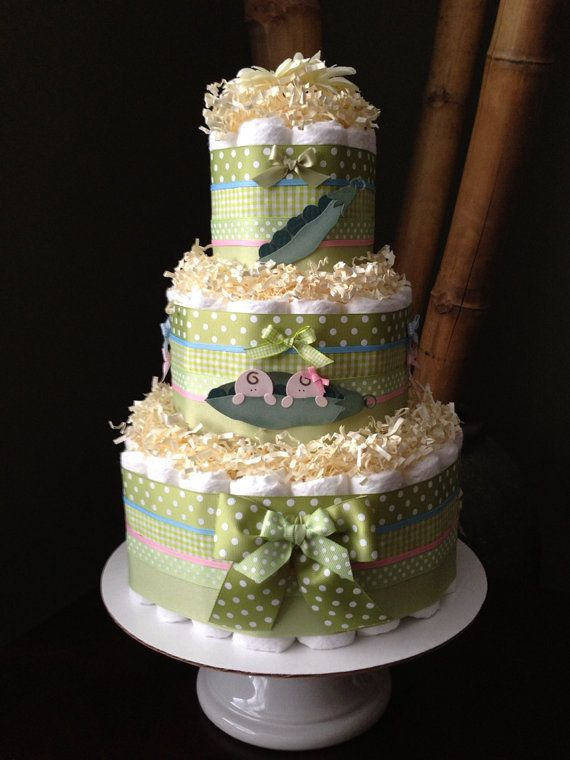 twin boy and girl diaper cake for baby shower centerpiece or new