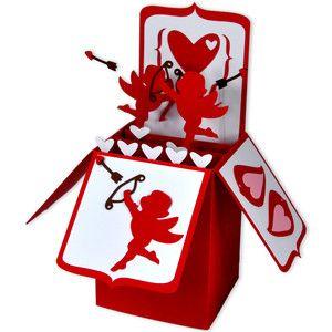 Silhouette Design Store - View Design #118808: cherub valentine card in a box