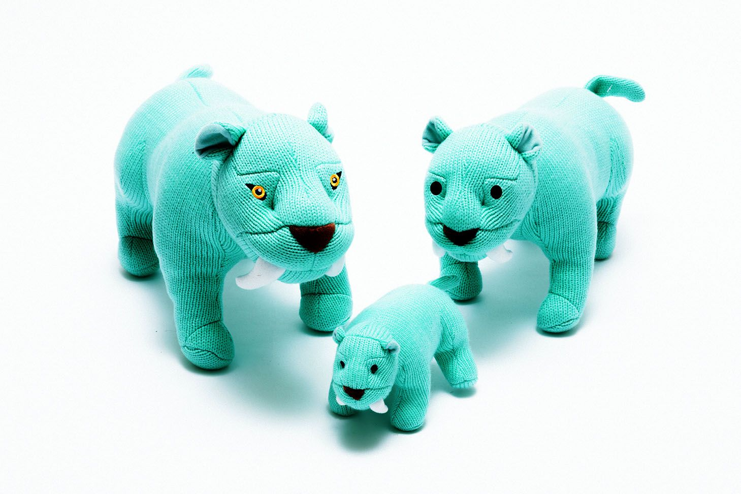 Knitted Blue Sabre Tooth Tiger Soft Toys Available In