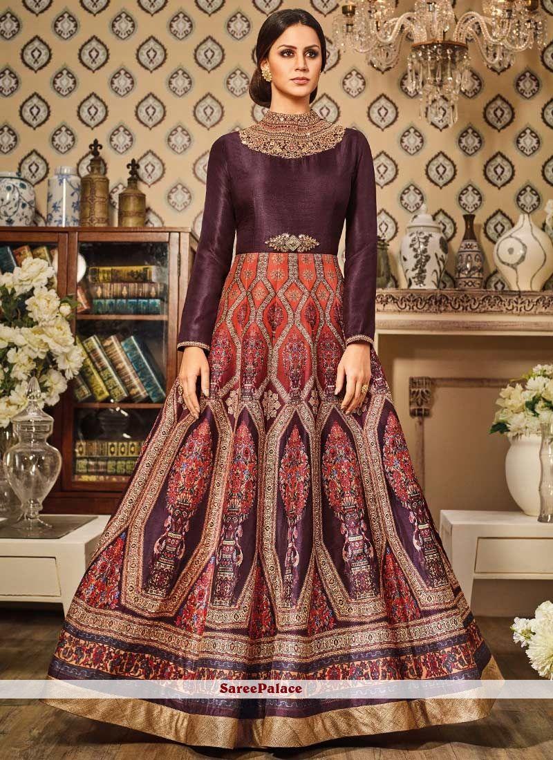 Charming Art Silk Wine Embroidered Work Floor Length Anarkali Suit