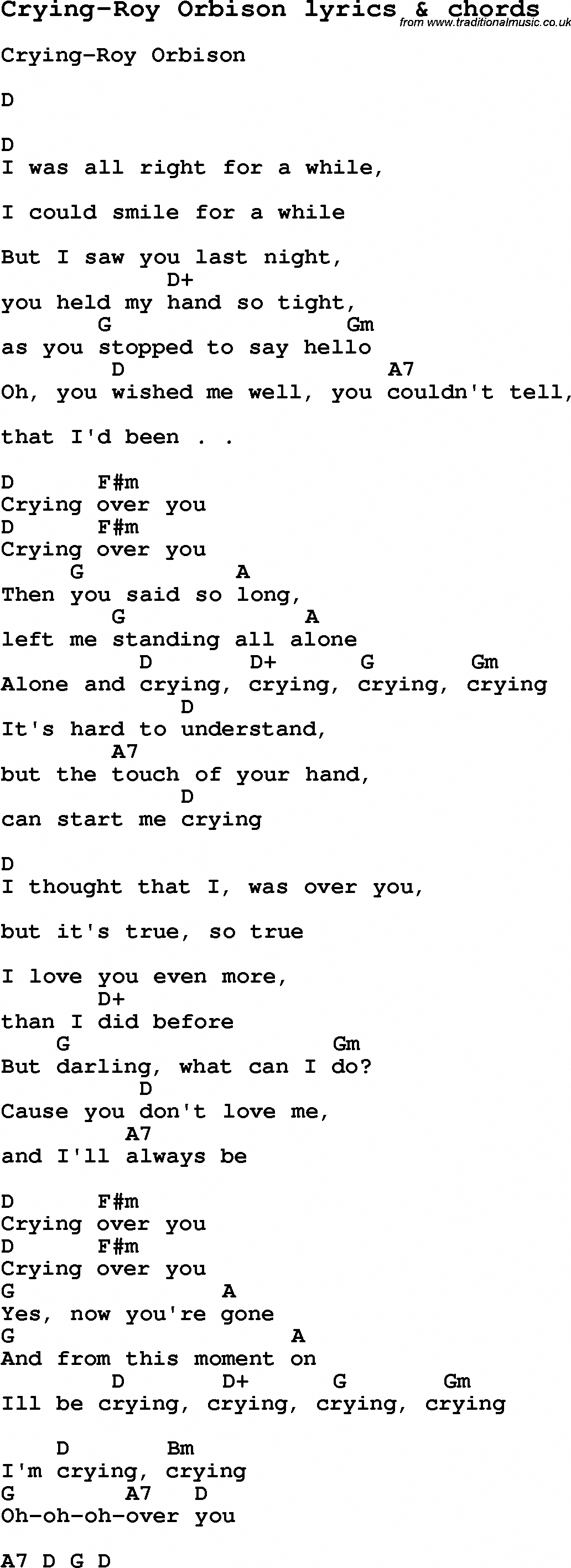 Love Song Lyrics for CryingRoy Orbison with chords for
