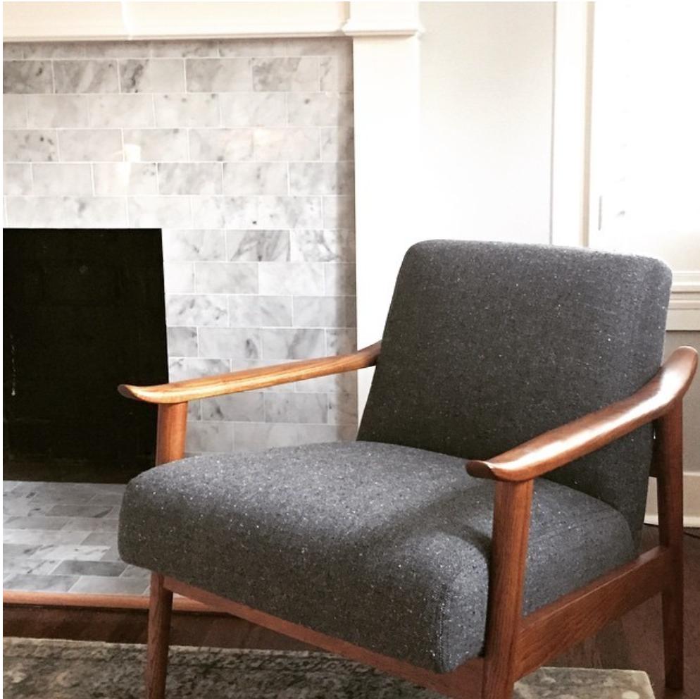 chair, fireplace