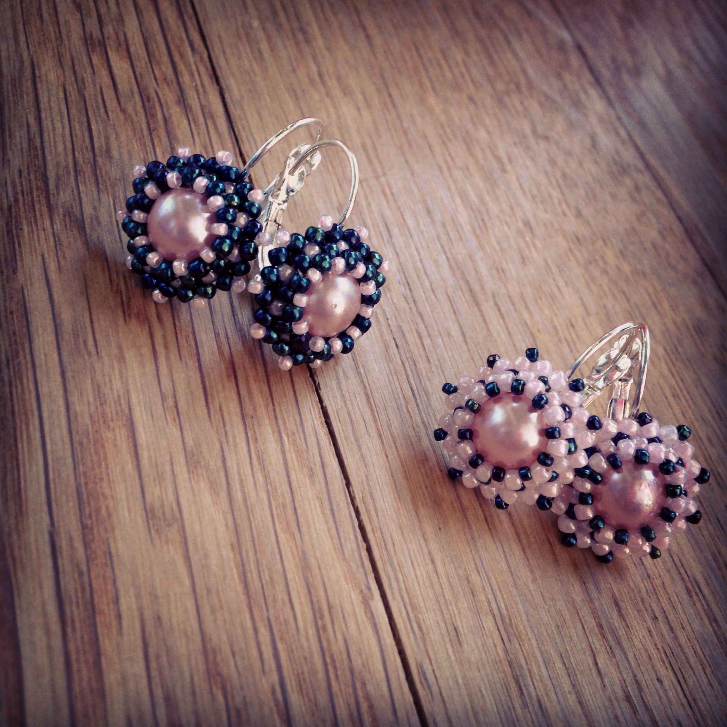 BW7 Two pairs of beaded earrings for two little princesses