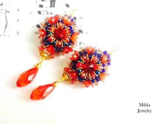Boho chic earrings, red and blue glass bead beadwoven dangle earrings, beadwork jewellery, beadweaving, seed beads