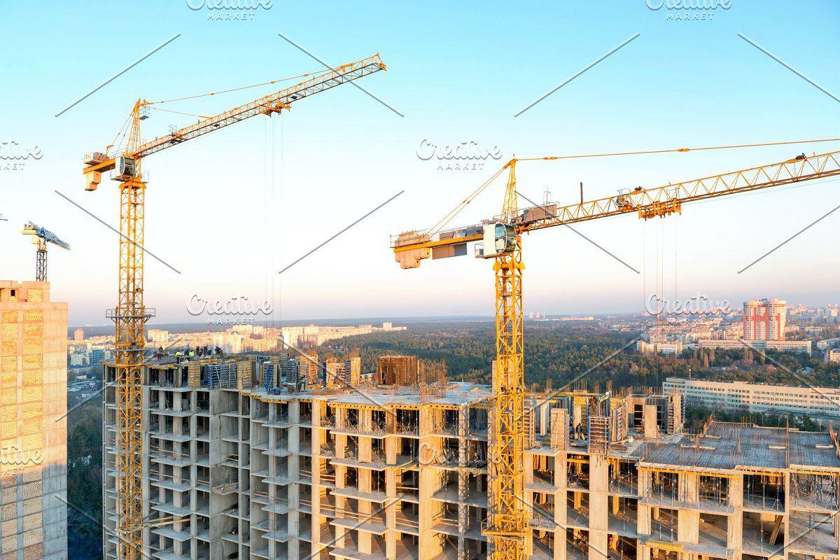 Cranes on industrial building site in 2020 industrial