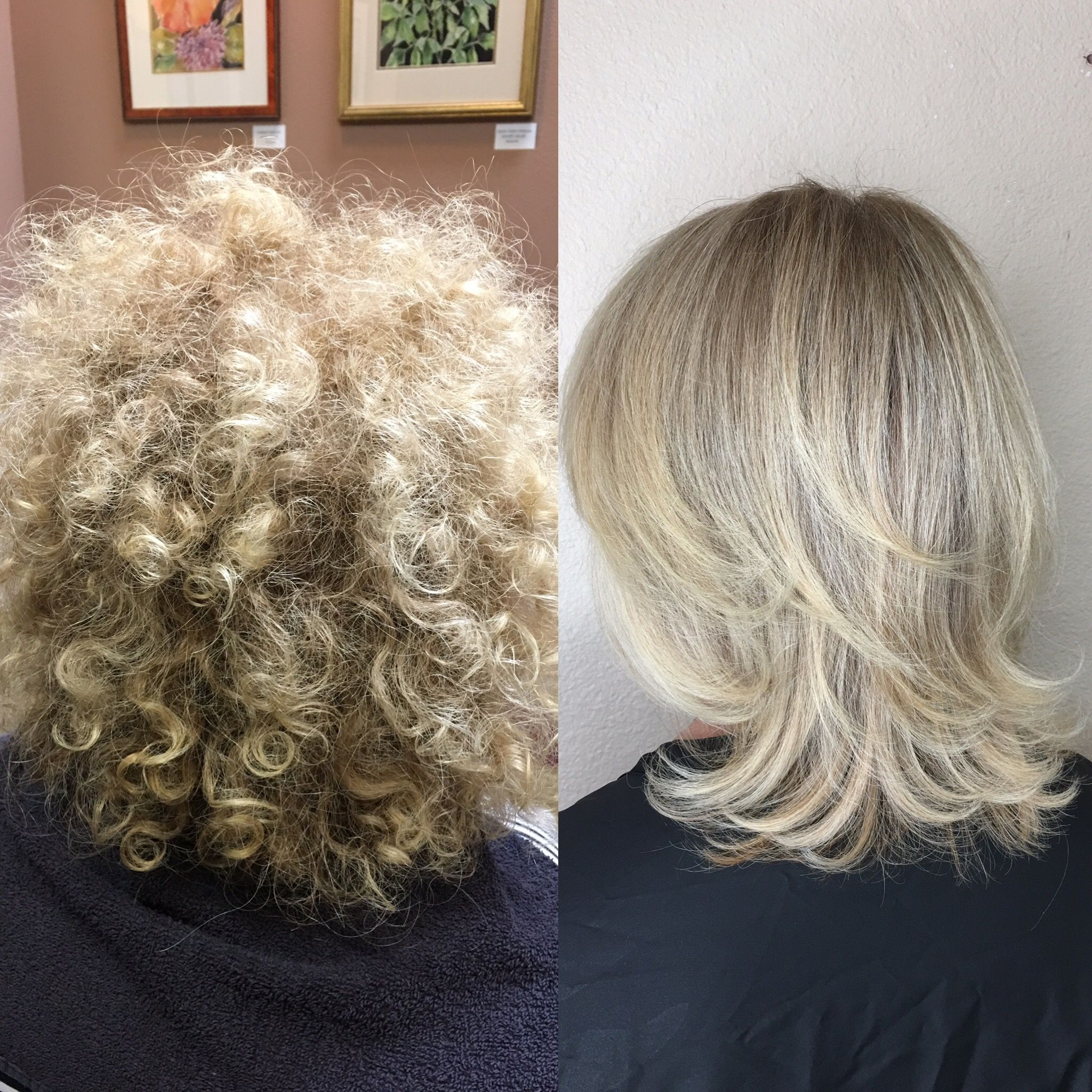 Before And After Brazilian Blowout Creamy Blonde Short Hair Curly Straight Short Layers Creamy Blonde Hair Short Hair Styles