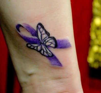 Cancer butterfly ribbon tattoo