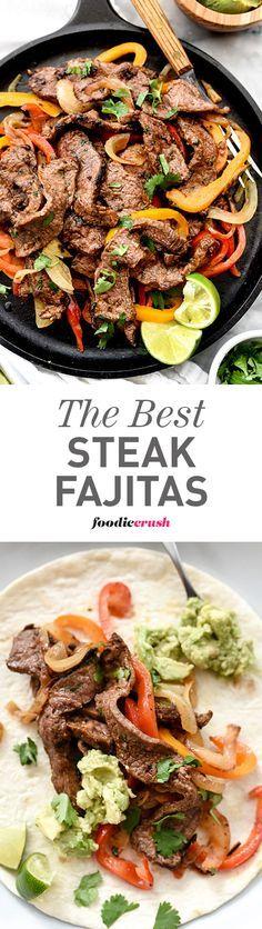 The homemade fajita spice mix is what makes these Steak Fajitas the best I've ever eaten | foodiecrush.com #steakfajitarecipe