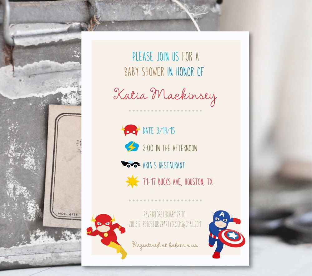 SuperHero Baby Shower Invitation, Superheroes Invitation ...