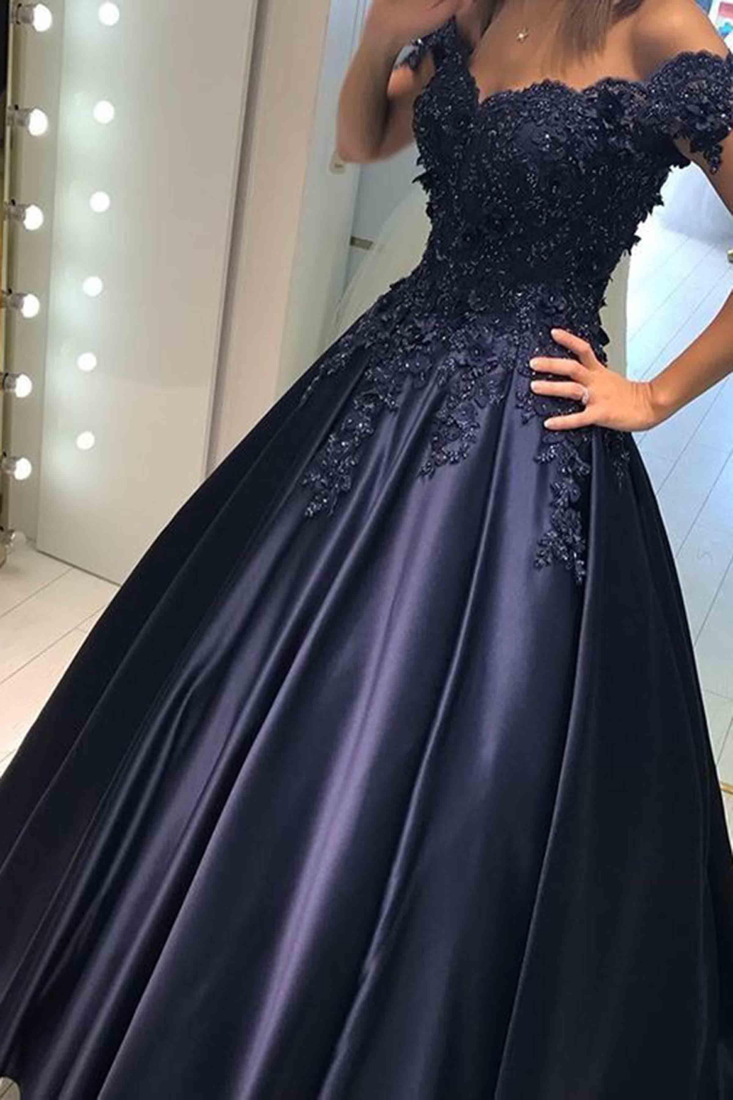 Dark satins off-shoulder lace long dress, ball gown | Vestidos ...