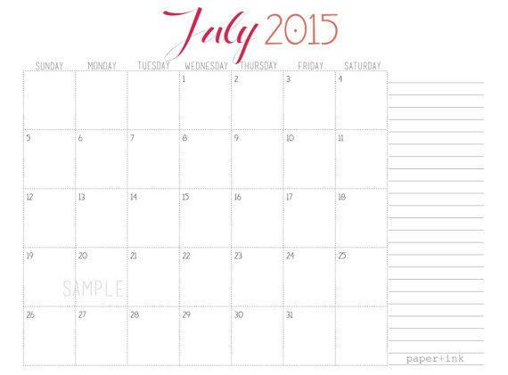 Monthly Calendar - Academic Year (August 2014 -July 2015) printable