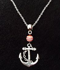 """Anchor Necklace Pendant Red White Stripe Silver Nautical 24""""Chain Rockabilly UK"""