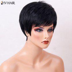 Siv Hair Side Bang Straight Short Layered Cut Human Hair Wig Mobile