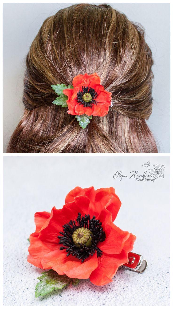 Red Mohn Haarspange Realistische Blume Haarschmuck Braut Haar Blume Floral Ton Schmuck  - Wedding hair flower accessories - #Accessories #Blume #Braut #Floral #Flower #Haar #Haarschmuck #Haarspange #HAIR #Mohn #realistische #Red #Schmuck #Ton #Wedding #brautblume