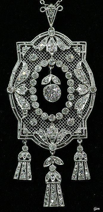 Antique Openwork Diamond Pendant ヴィンテージジュエリー、ジュエリー