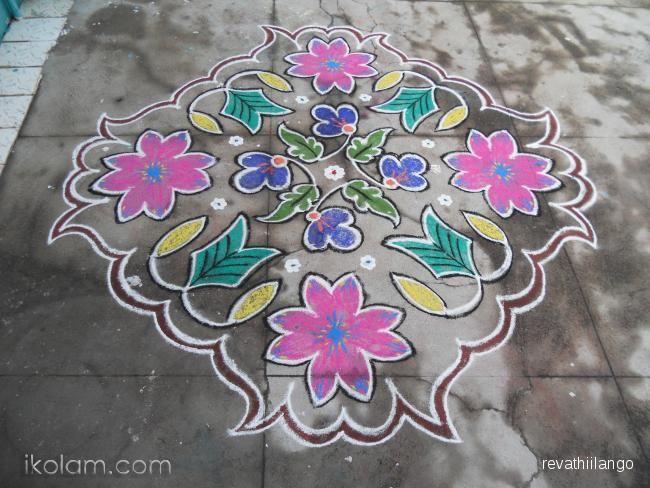 A Big Flower Embeded With Small Flowers Kolam Rangavallikaluuu