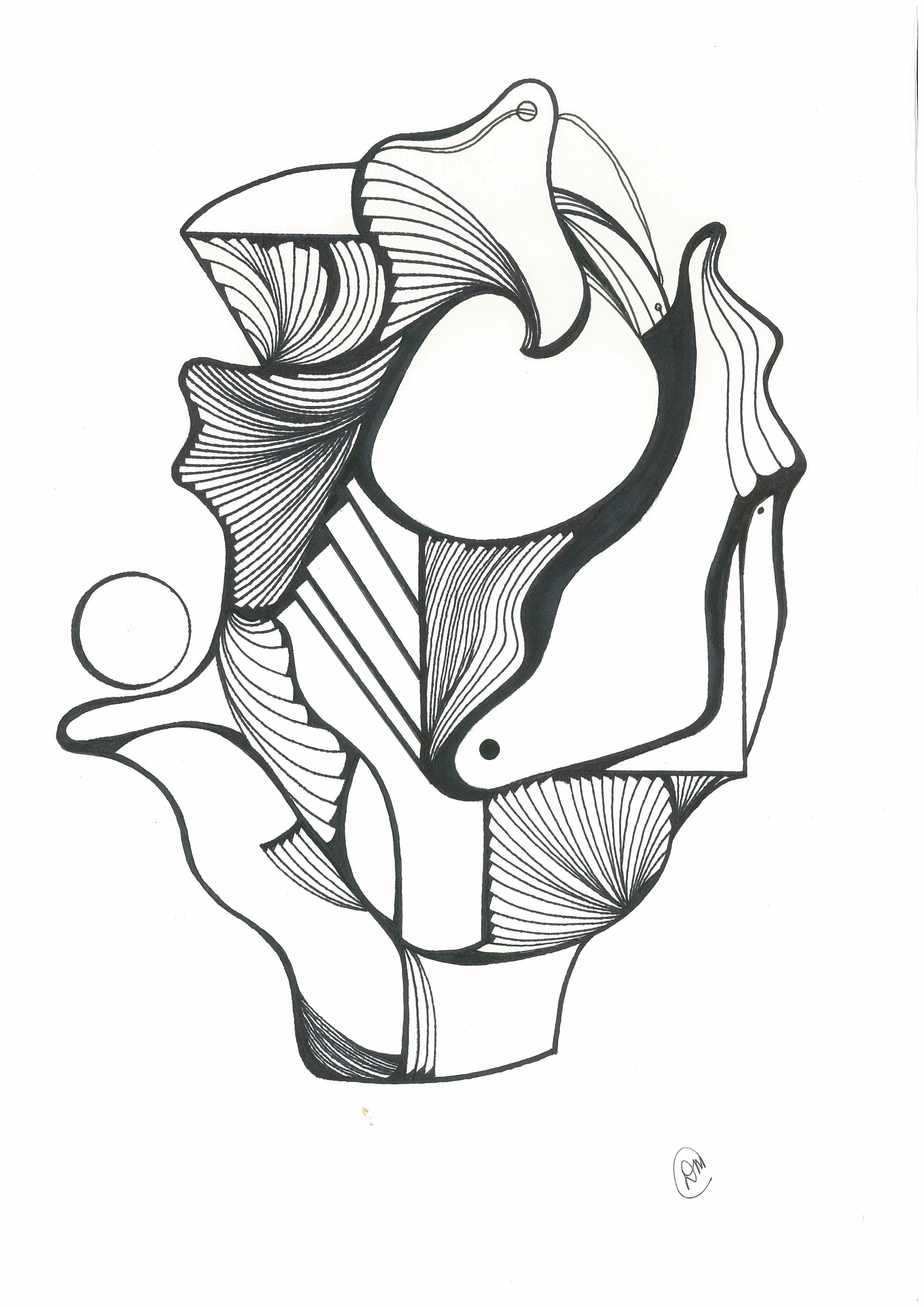 Pen and ink abstract drawing my style friends moments