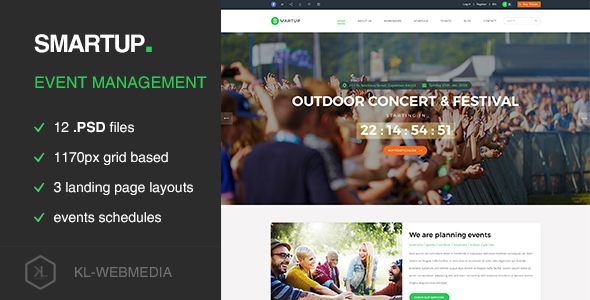 Smartup - Event Management PSD template  Smartup has features such - Event Plan Template