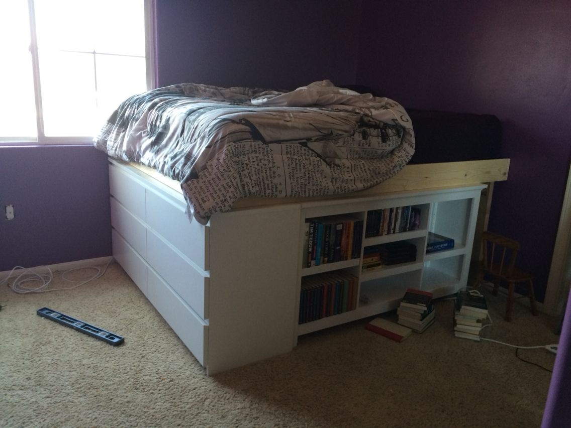 We Put The Malm Dresser And A Bookshelf Found At Target Under My Daughter S Queen Size Bed To Save E In Small Room