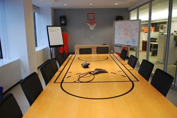 basketball court conference table in a marketing agency