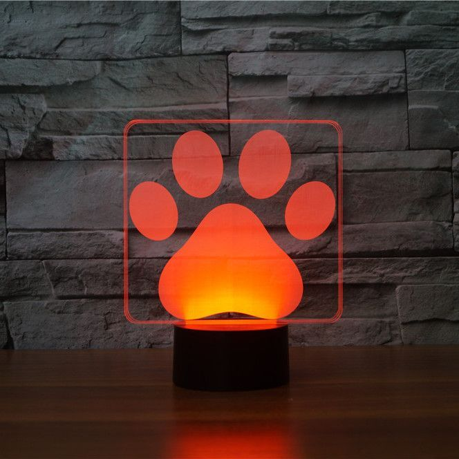 Dog Paw 3d Optical Led Illusion Lamp Lampeez Com 3d Illusion Lamp 3d Night Light Night Light Lamp