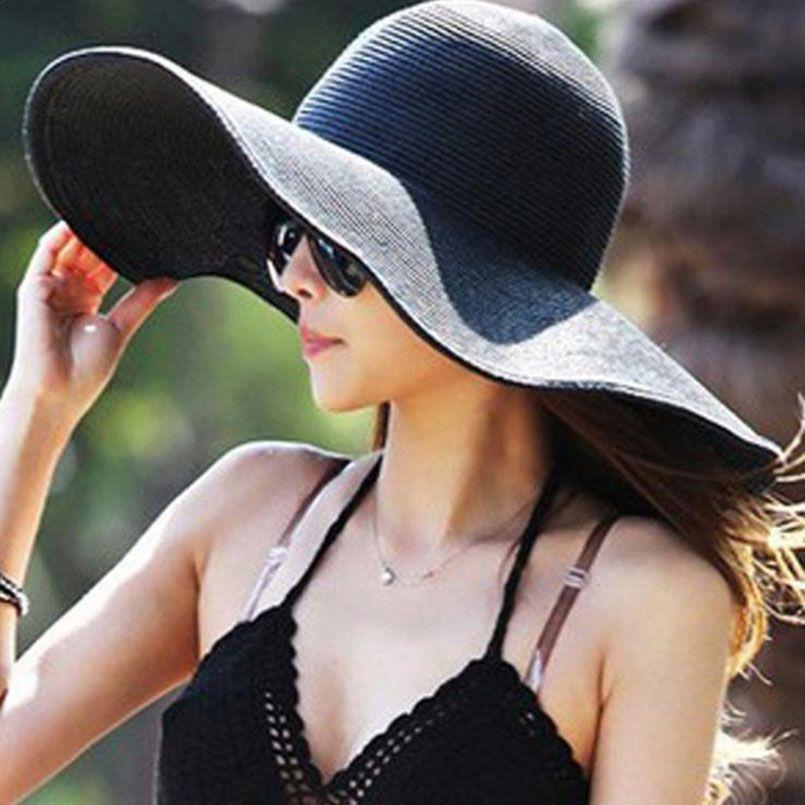 0b562ec8b88 2018 Hot Sale Round Top Raffia Wide Brim Straw Hats Lady Summer Sun Hats  For Women With Leisure Beach Hats Solid Flat Gorras