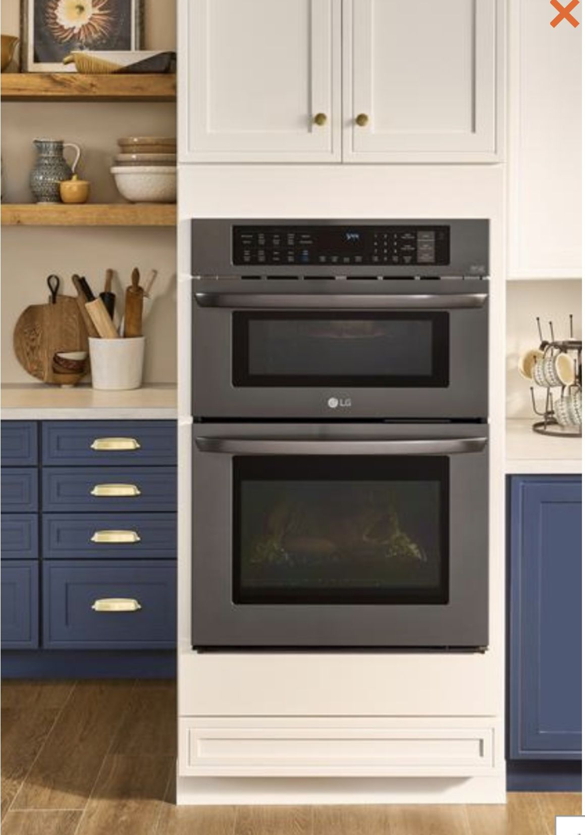 Lg Electronics 30 In Combination Double Electric Smart Wall Oven W Convection Easyclean Built Microwave Black Stainless Steel Lwc3063bd The Home Dep Kitchen Finishes