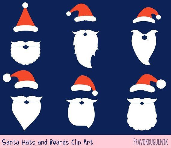 Santa Hat And Beard Clipart Set Santa Hat Clip Art Digital Etsy In 2020 How To Draw Santa Beard Clipart Clip Art