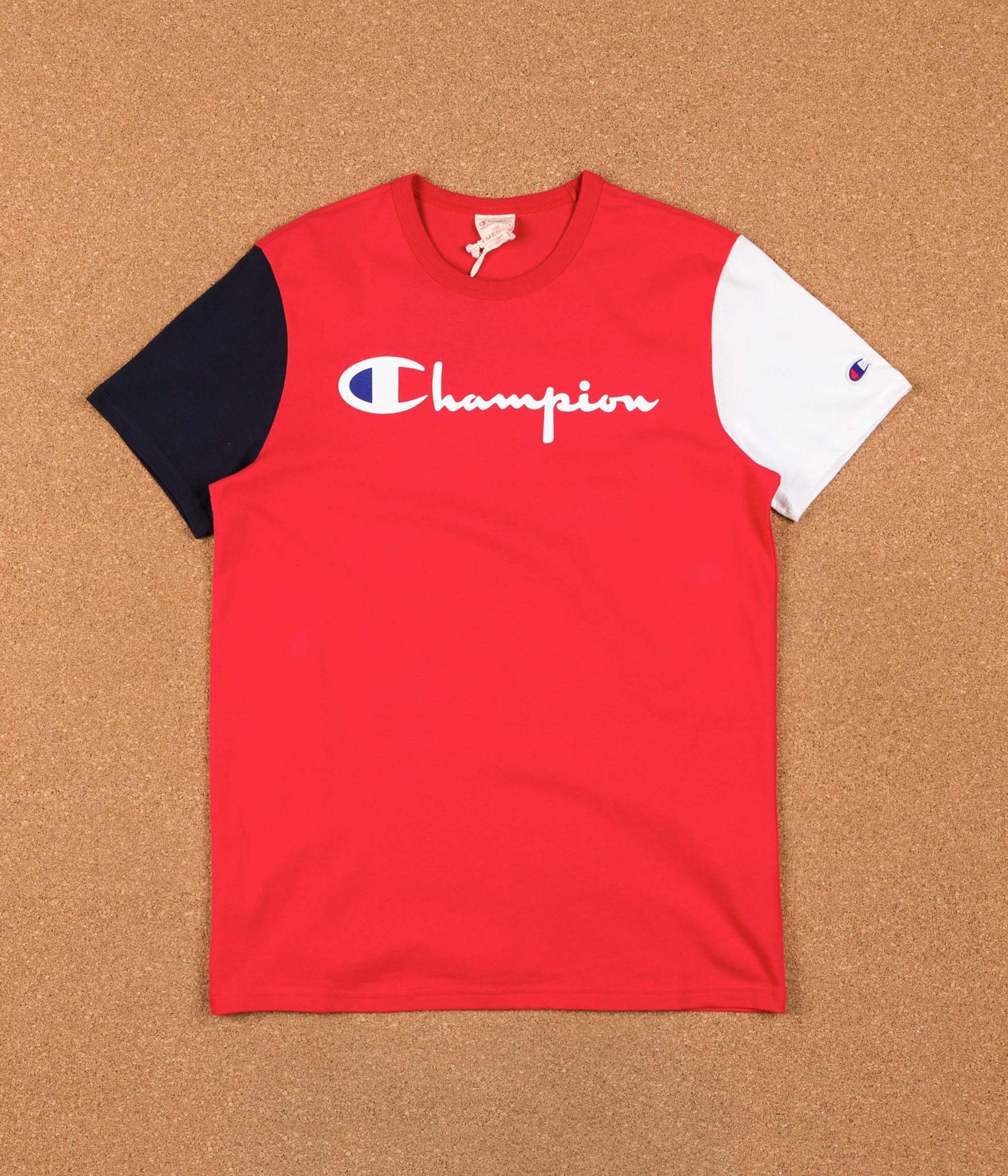 e413f7a8 Champion Reverse Weave Tricolour Script Logo T-Shirt - Red / Navy / White