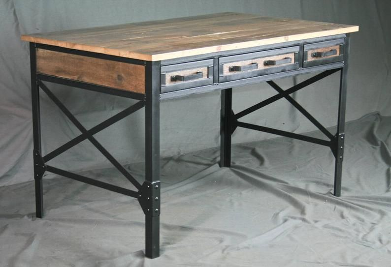 Reclaimed Wood Desk With Drawers Industrial Office Desk W